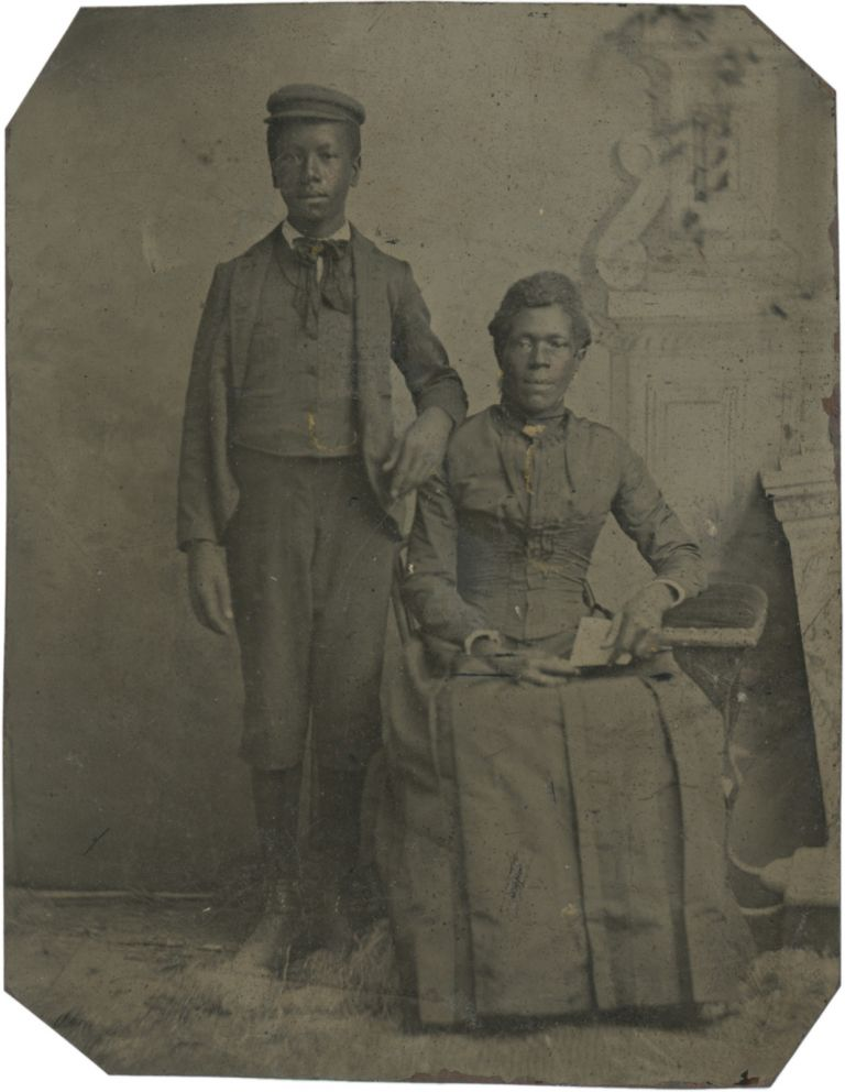 Quarter Plate Tintype of an African American Mother and Son. Photography - 19th Century, Vernacular.