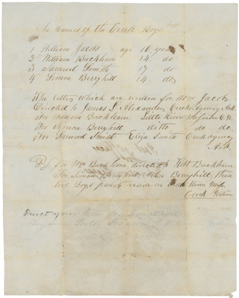 """Manuscript Document with Postal Instructions for """"Creek Boys"""" in Indian Territory. Edward T. Peery, Shawnee Manual Labor School."""