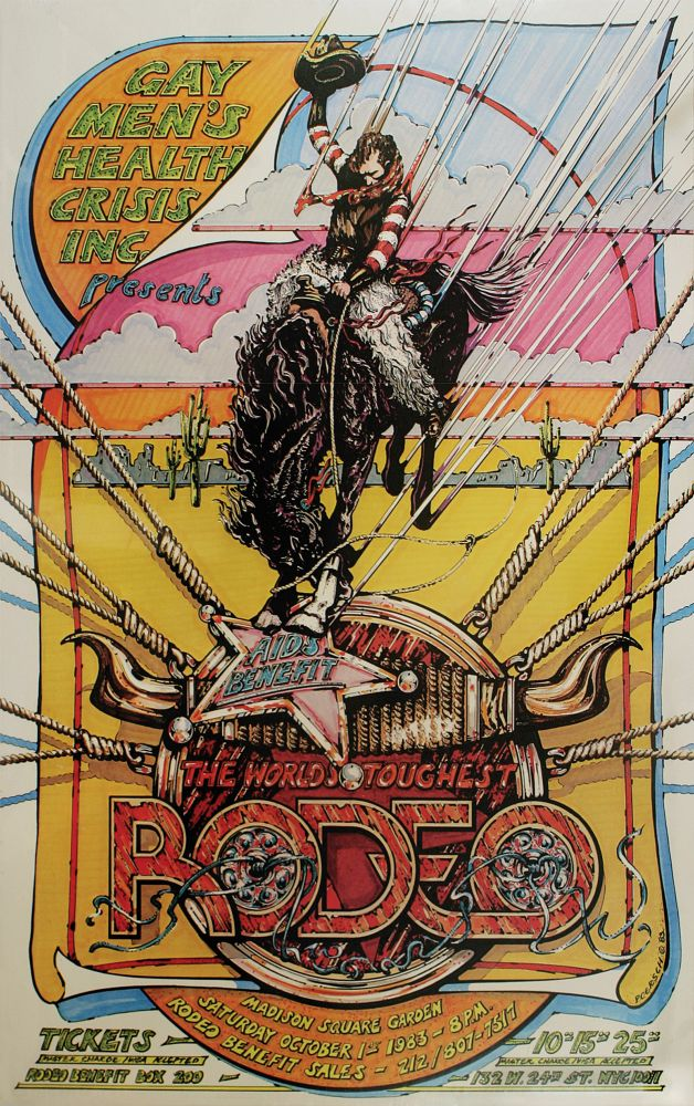 Poster for The World's Toughest Rodeo AIDS Benefit, Madison Square Garden, October 1st, 1983. AIDS Epidemic, Inc Gay Men's Health Crisis, Enno Poersch.