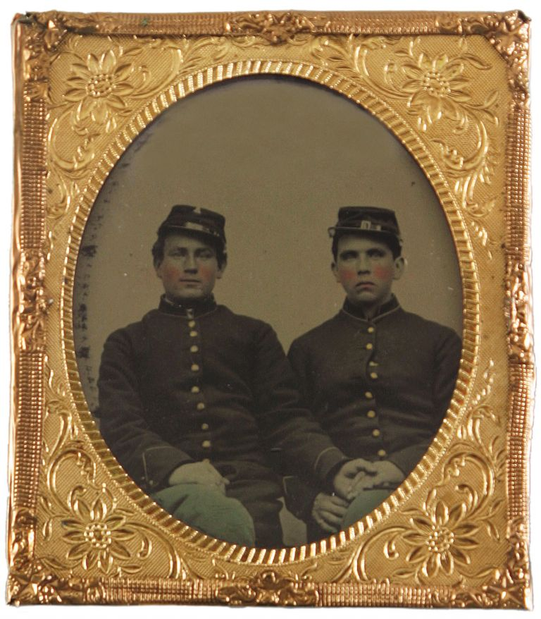 A Remarkable Sixth Plate Tintype of Two Union Soldiers Holding Hands. Civil War, Vernacular Photography.