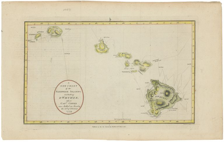 A New Chart of the Sandwich Islands, including Owhyhee where Captn. Cooke was killed on Sunday the 14th of February 1779. Hawaii, John Harrison, Maps.