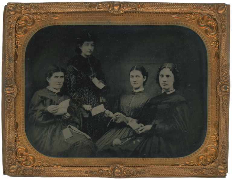 Quarter Plate Tintype of a Women's Sewing Circle, c. 1860s. Women, Sewing Circles.