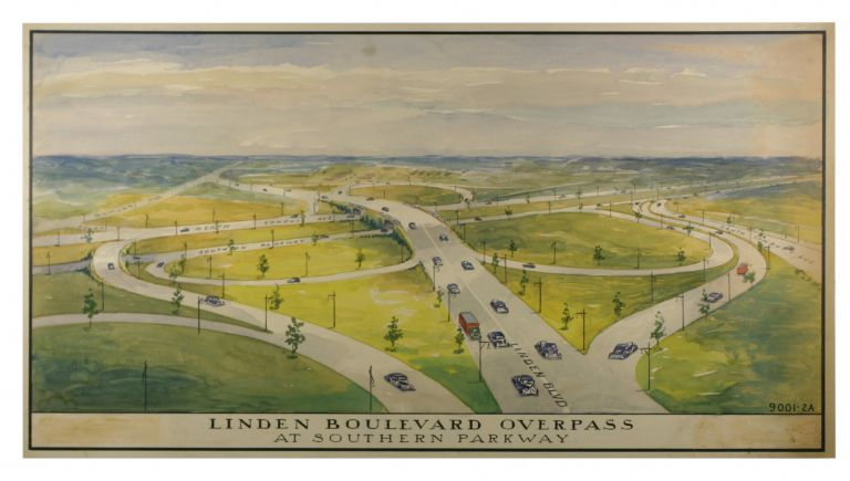 Three Watercolors for Proposed Intersections in Queens from the Robert Moses Era. New York City, Automobile Age.