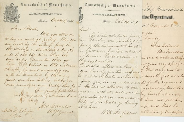 Collection of Three Spirited Civil War Letters to Massachusetts Officer and Writer Horace Binney Sargent from Compatriots and an Honorable Discharge Certificate for his Service as Aid-De-Camp, 1861. Civil War, Horace Binney Sargent, Nathaniel Banks, William Schouler, Massachusetts.