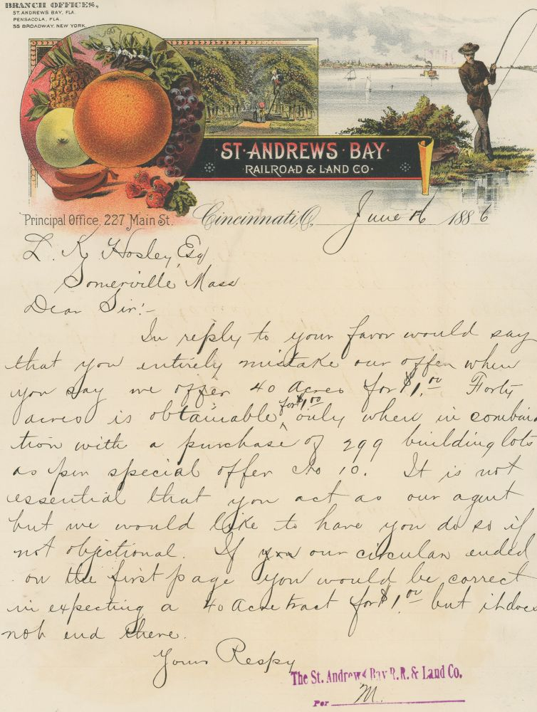 A Collection of Ephemera Relating to the Dubious Sale of Land in the Florida Panhandle in the 1880s. Florida, St. Andrews Bay Railroad, Land Company, Real Estate.