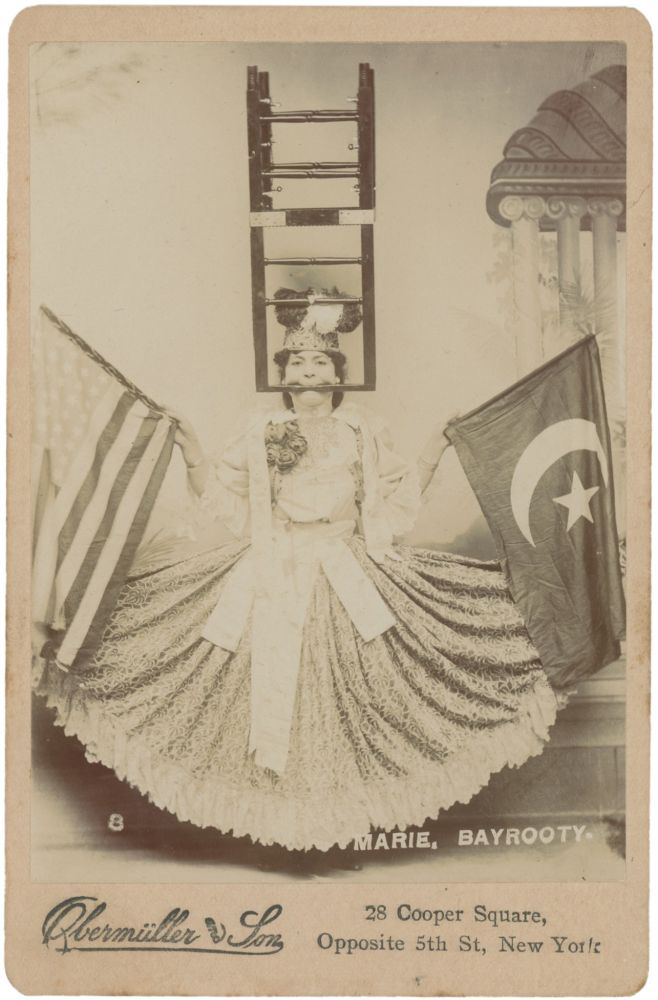 Cabinet Card of Marie Bayrooty in Stunt Pose Holding American and Turkish Flags, Circa 1905. Mevlevi Order, Obermuller, Photographers Son, Women.