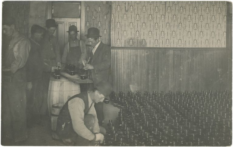 Realphoto Postcard of a Bootlegging Operation, c. 1920s. Prohibition.