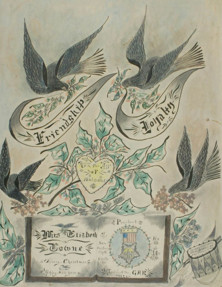 Folk Art Memorial Drawing to the 54th Massachusetts Infantry, Presented to the Ladies of the G.A.R. African-Americana, Alexander Johnson, Civil War, 54th Massachusetts.