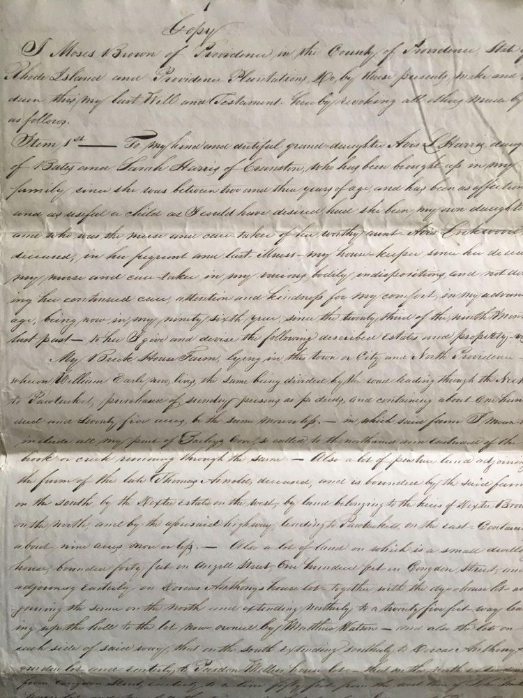 Collection of Documents from the Family of Anna Almy Jenkins, Granddaughter of Moses Brown, Including a Holograph Copy of Moses Brown's Last Will, Documents Relating to Jenkins' Involvement in the Religious Society of Friends, and Various Deeds and Documents Relating to the Brown Family. Brown Family, Moses Brown, Anna Almy Jenkins, Women, Abolition, Quakerism.