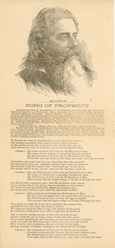 Souvenir: Song of Prophecy. [Illustrated Broadside]. Music, John Hutchinson, Women's Suffrage, Hutchinson Family Singers.