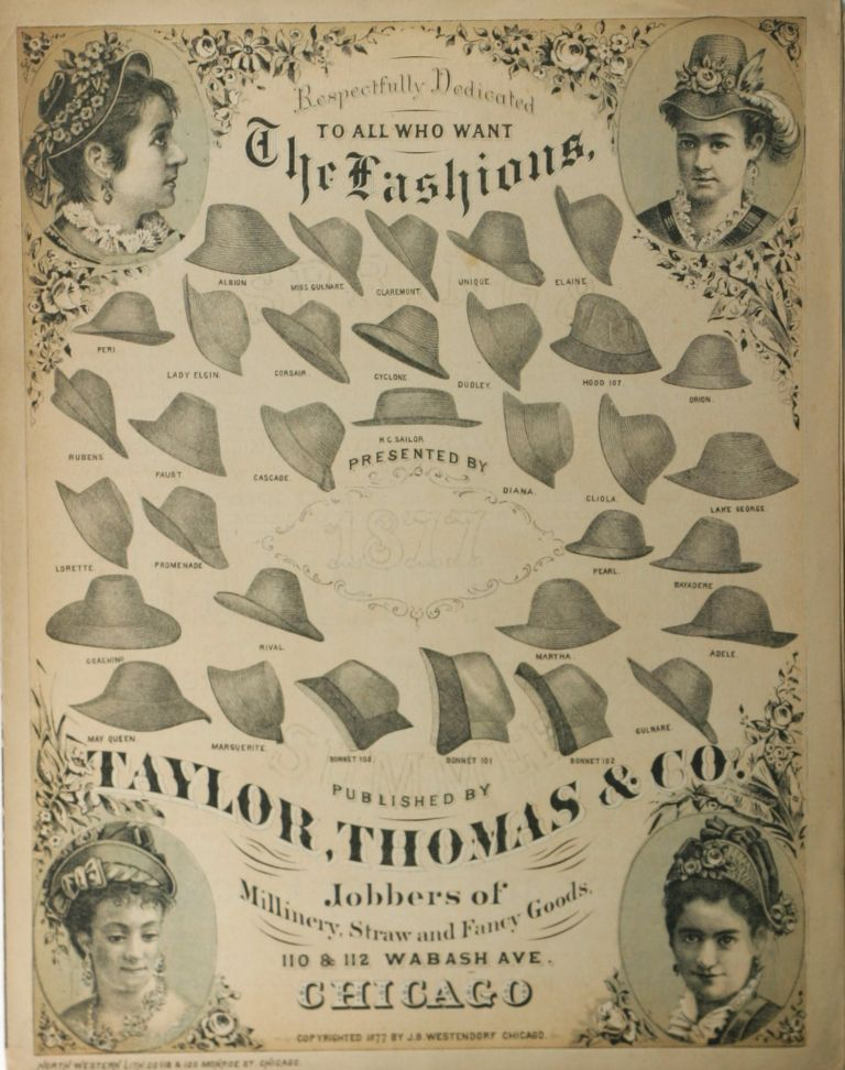 Respectfully Dedicated to All Who Want The Fashions. [Lithographic Advertisement for Women's Hats Accompanying Sheet Music for J.B. Westendorf's Come One, Come All, or, A Plea from your Milliner.]. Women, Thomas Taylor, Co, J. B. Westendorf, Co., Advertising, Fashion, Lithography.