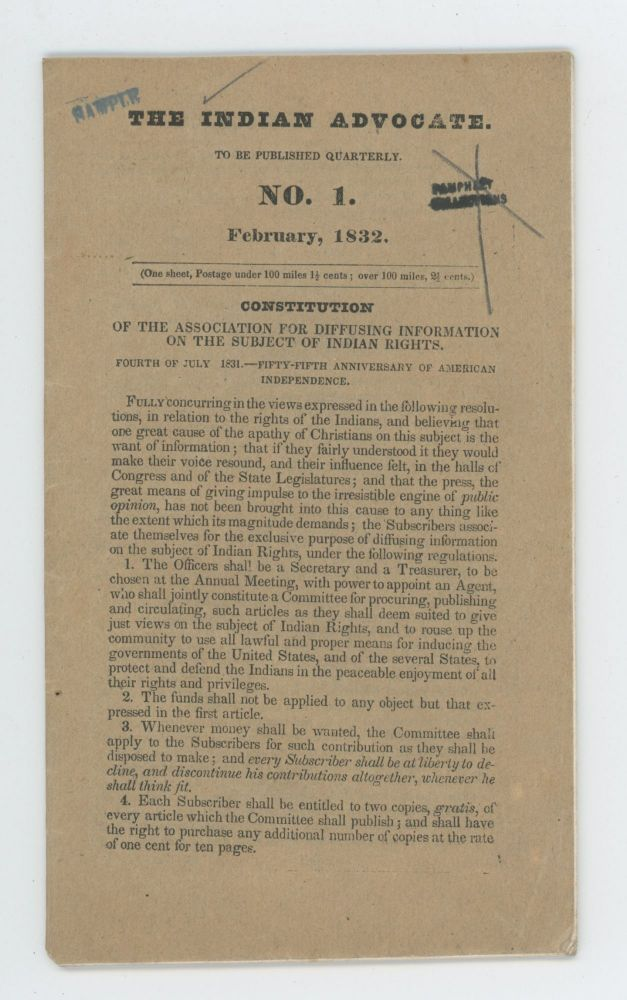 Indian Rights and Our Duties. An Address Delivered at Amherst, Hartford, etc. Stereotyped for the Association for Diffusing Information on the Subject of Indian Rights. [With] Constitution of the Association for Diffusing Information on the Subject of Indian Rights. American Indians, Heman Humphrey, Association for Diffusing Information on the Subject of Indian Rights, Advocacy.