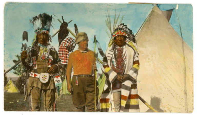 A Series of Sixty-Three Hand-Painted Photographic Postcards Detailing the Experiences of Holyoke, Massacushetts Advocate and Businessman Christian Schuster Among the Piegan Blackfeet, c. 1920s. Piegan Blackfeet, Christian F. Schuster, Advocacy, Photography.