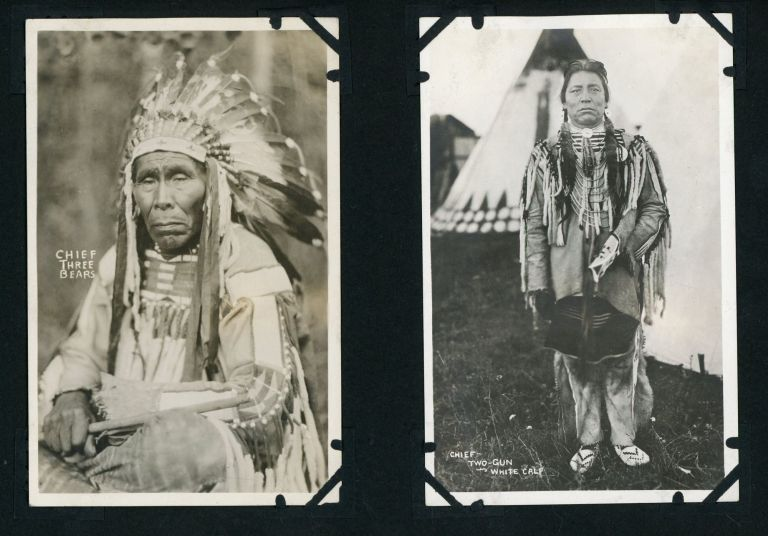 Album of 132 Photographs showing Scenery from Western American National Parks, with Many Realphoto Postcards by Noted Photographers including Blackfeet Photographs by T.J. Hileman. Western Americana, T. J. Hileman, Frank J. Haynes, Frank Jacobs, National Parks, Blackfeet.