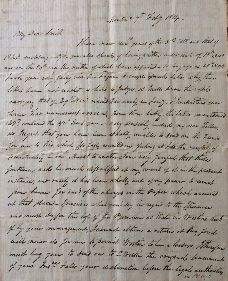 An Important Correspondence Archive Relating Primarily to Latin American Trade and Politics during the Wars of Independence from Spain, as well as Trade with China, with Allied Documents, 1809-1838. Latin America, Captain Eliphalet Jr Smith, Revolutionary Period, Canton Trade, United States / Latin-American Relations.