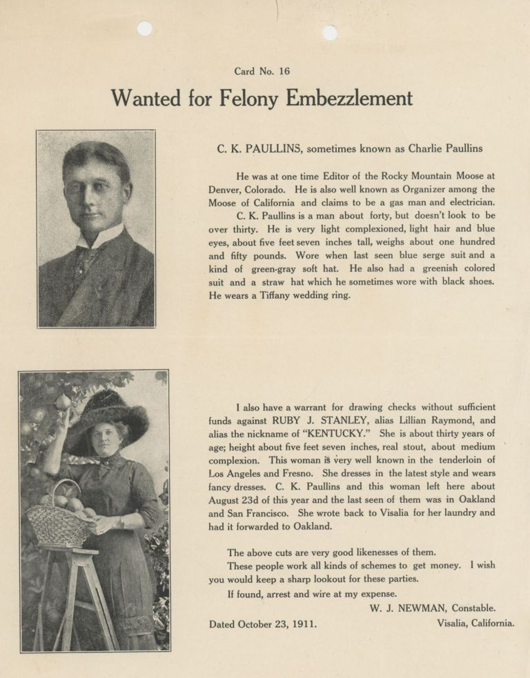 Card No. 16: Wanted for Felony Embezzlement. Crime, California.