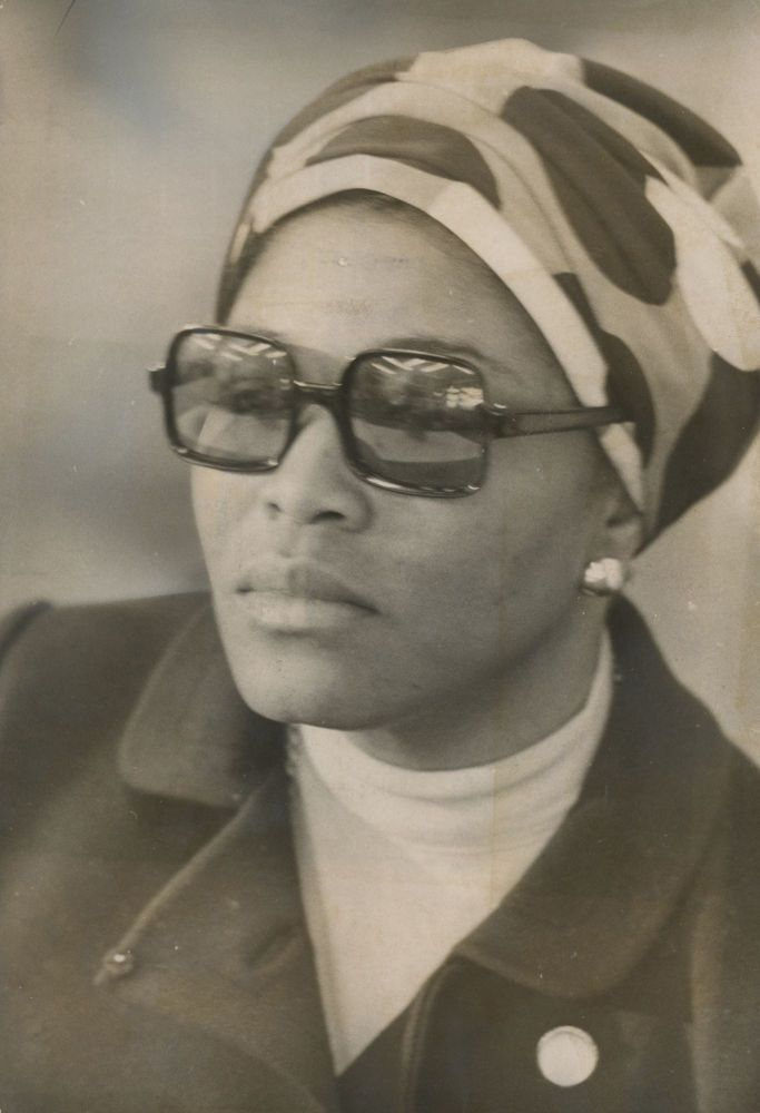 Two Press Photographs of Betty Shabazz Attending a Ceremony Commemorating the Death of Malcolm X, May 19, 1971. Betty Shabazz, John Gorman.
