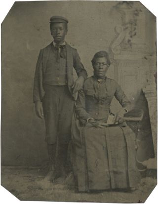 Quarter Plate Tintype of an African American Mother and Son. Photography - 19th Century, Vernacular