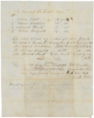 "Manuscript Document with Postal Instructions for ""Creek Boys"" in Indian Territory. Edward T...."