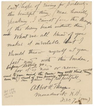 """A Collection of Five Letters to Various Recipients, as well as a letter from Charles Freer to Abbott Thayer discussing a Recent Visit and the Potential Purchase of Thayer's """"Monadnock in Winter"""" and """"Monadnock Mountain."""""""