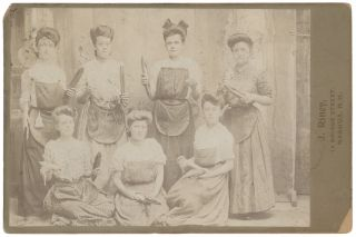 Cabinet Card Portrait of a Group of Female Mill Workers in Nashua, N.H. c. 1880-1890. Labor, J....