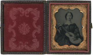 Ninth Plate Cased Ambrotype of a Woman Holding a Guitar. Photography - 19th Century, Vernacular