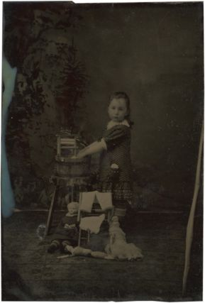 Sixth Plate Tintype of a Little Girl Bathing her Toy Dolls. Photography - 19th Century, Vernacular