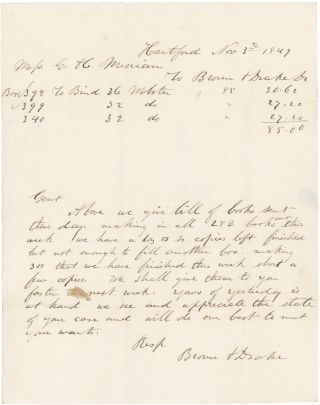 Letter and Bill to Merriam, Publishers of Webster's Dictionary, from their Binders, Brown and...