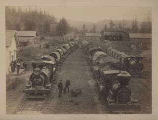 Two Albumen Photographs of Lumbering in Eureka, Calif., c. 1890. California, Peter Fassold