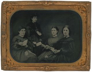 Quarter Plate Tintype of a Women's Sewing Circle, c. 1860s. Women, Sewing Circles
