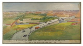 Three Watercolors for Proposed Intersections in Queens from the Robert Moses Era.