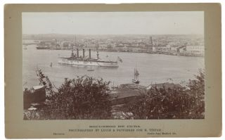 Mounted Albumen Print of an American Warship in Havana Harbor, Published as part of the...