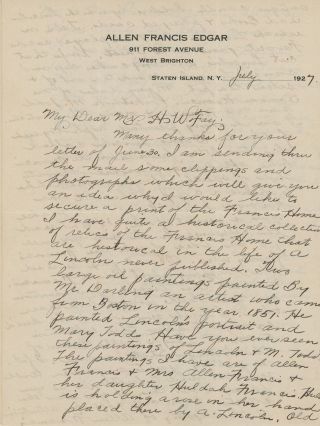 A Series of Seven Autograph Letters, Signed, to Herbert Fay, Curator of Lincoln's Tomb,...