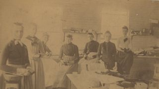 Group Portrait of Female Mill Workers, Lawrence, Massachusetts, c. 1880s. Women, J. J. Greene,...