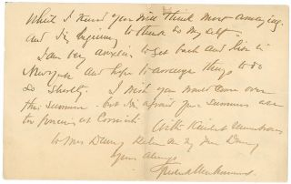 Three Letters to Thomas Dewing, 1902-1910.