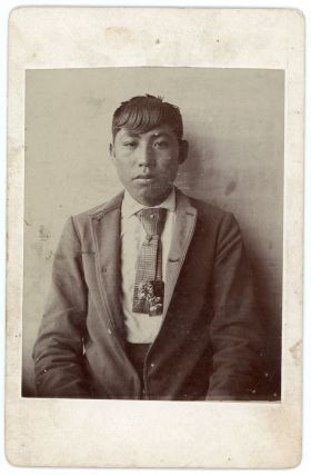 "Cabinet Card Photograph of an American Indian Student in Western Dress Signed ""Wyoming Kid.""...."