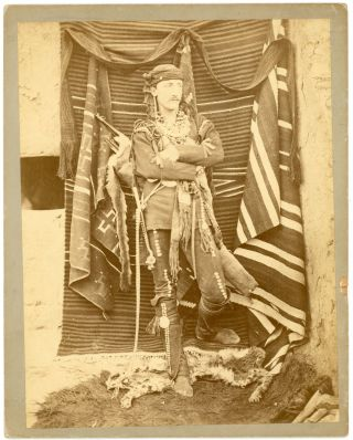 Photograph of Frank Hamilton Cushing in Zuni Dress c. 1882-1883, Inscribed by Cushing on the...