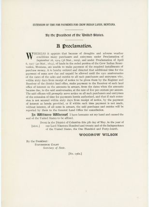 Extension of Time for Payments for Crow Indian Lands, Montana [Executive Order No. 1562.]....
