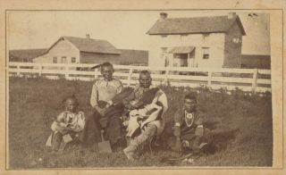 Three Cartes-de-Visite of the Neosho Reservation, One Showing a Kaw Family and Two Showing...