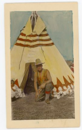 A Series of Sixty-Three Hand-Painted Photographic Postcards Detailing the Experiences of Holyoke, Massacushetts Advocate and Businessman Christian Schuster Among the Piegan Blackfeet, c. 1920s.