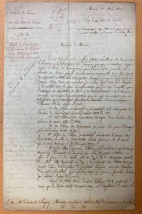 Signed manuscript report and chart from Hersant, Consul de France a San Luis Potosí and Tampico, to Comte de Rigny, Minister of the Navy.