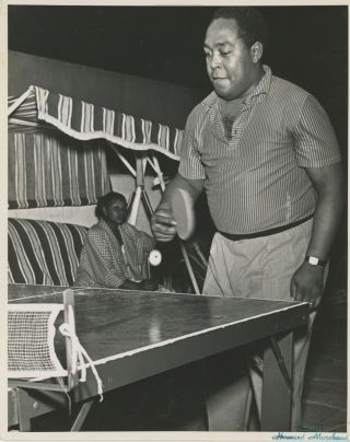 Portrait of Charlie Parker Playing Table Tennis, c. Early 1950s. Music, Howard Morehead, Jazz,...