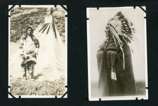 Album of 132 Photographs showing Scenery from Western American National Parks, with Many Realphoto Postcards by Noted Photographers including Blackfeet Photographs by T.J. Hileman.