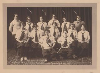 The Lightning Strikers. Winners of the Ladies Indoor Baseball League Trophy, Nome, Alaska, 1914....