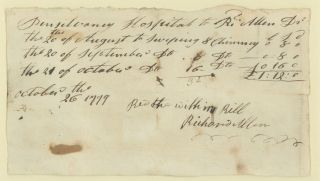 Manuscript Document, Signed, October 26, 1799. African-Americana, Richard Allen