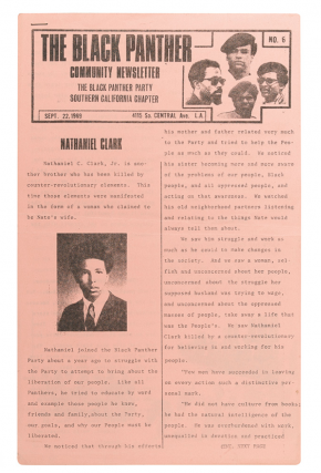 The Black Panther Community Newsletter, Sept. 22, 1969. Issue No. 6. Black Panthers, Southern...