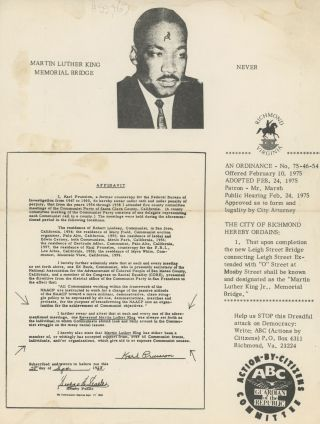 Small Collection of Ephemera Relating to Julia Brown and Anti-Martin Luther King, Jr. Activities....