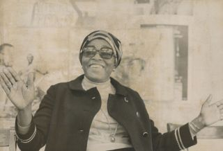 Two Press Photographs of Betty Shabazz Attending a Ceremony Commemorating the Death of Malcolm X, May 19, 1971.